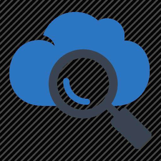 cloud, data, essentials, search icon