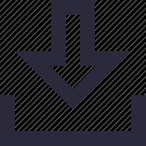 arrow, down arrow, download, inbox, mailbox icon