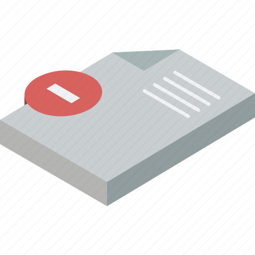 delete, document, essentials, isometric icon