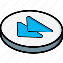 essentials, isometric, rewind icon