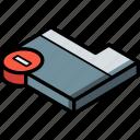 folder, delete, isometric, essentials