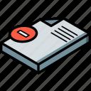 isometric, document, essentials, delete