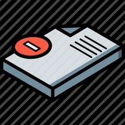 delete, document, essentials, isometric icon