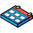 calendar, essentials, isometric