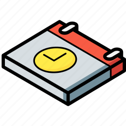 calendar, essentials, isometric, time icon