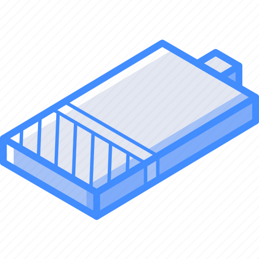 battery, essentials, isometric, one, quater icon