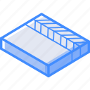 clapper, isometric, board, essentials
