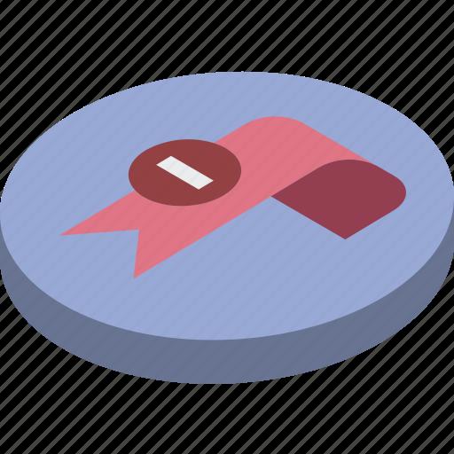bookmark, delete, essentials, isometric icon