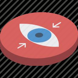 essentials, isometric, reduce, view icon