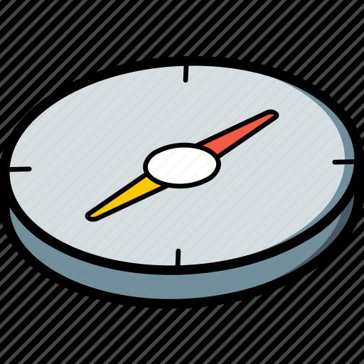 compass, essentials, isometric icon