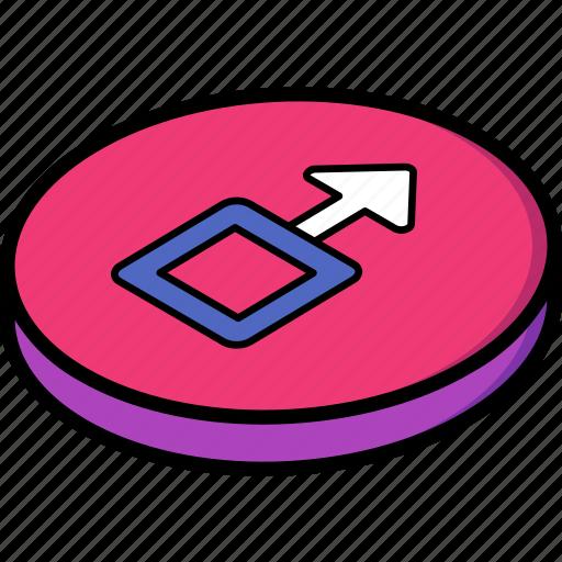 essentials, isometric, upload icon
