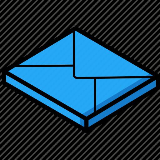 essentials, isometric, mail icon
