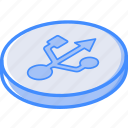 essentials, isometric, usb icon