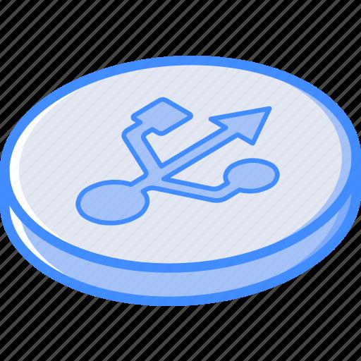 Essentials, isometric, usb icon - Download on Iconfinder