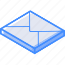 essentials, isometric, mail icon