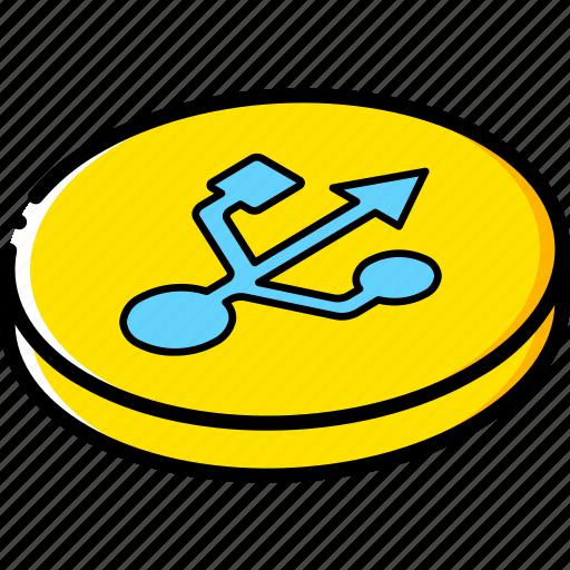 essentials, isometric, usb icon