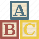 alphabet, blocks, building, letter, toy icon