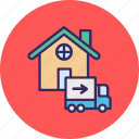 home relocation, home shifting, house mover, mover estate icon