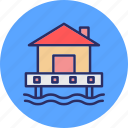 beach bungalow, beach house, boatshed, resort icon