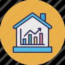 estate business, estate economics, property value, real estate graph icon