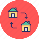 home relocation, home replacement, home shifting, moving house icon