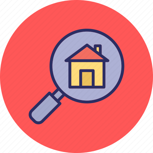house selection, real estate search, relocation, search building icon