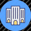 arcade, building front, condominium, flats icon