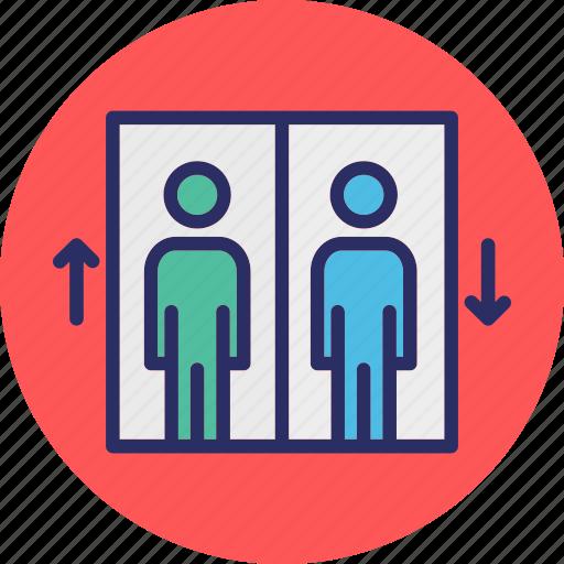 elevator, elevator door, lift, lift man icon