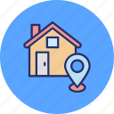 home location, location holder, map pin, navigation icon