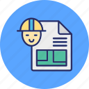 architecture work, blueprint, construction plan, drafting icon