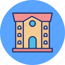 apartment, building, building front, house icon