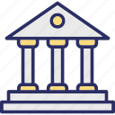 bank, bank building, bank exterior, commercial building icon