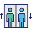 elevator, elevator door, lift, lift man icon