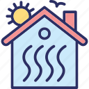 climate control, heating system, house heating, thermal insulation icon
