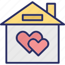 building, dream house, family house, home love icon