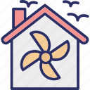 air conditioning, home ventilation, house heat recovery, house ventilation icon