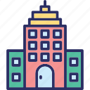 arcade, building front, condominium, residential building icon
