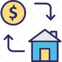 house cost, house financing, mortgage, property cost icon