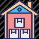 down, storage unit, storehouse, storeroom icon