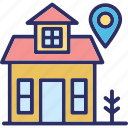 home location, location, location holder, map pin icon