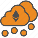 blockchain, cloud, cryptocurrency, ethereum, mining icon