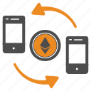 cel, ethereum, mobile, money, transfer icon