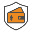 ethereum, guarantee, security, wallet icon