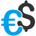 business, currency, dollar, euro, finance, financial, money exchange icon