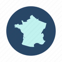 country, europe, france, map icon