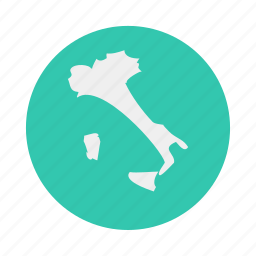 country, europe, italy, map icon