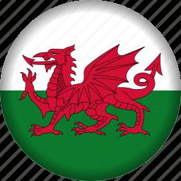 europe, flag, wales icon