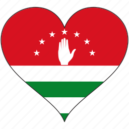 abkhazia, europe, european, flag, heart, love, national icon