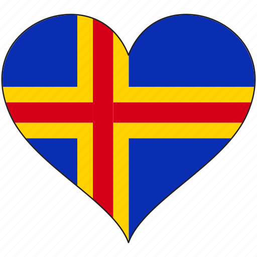 aland, europe, european, flag, heart, national icon