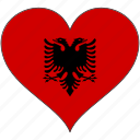 albania, flag, heart, europe, european, national